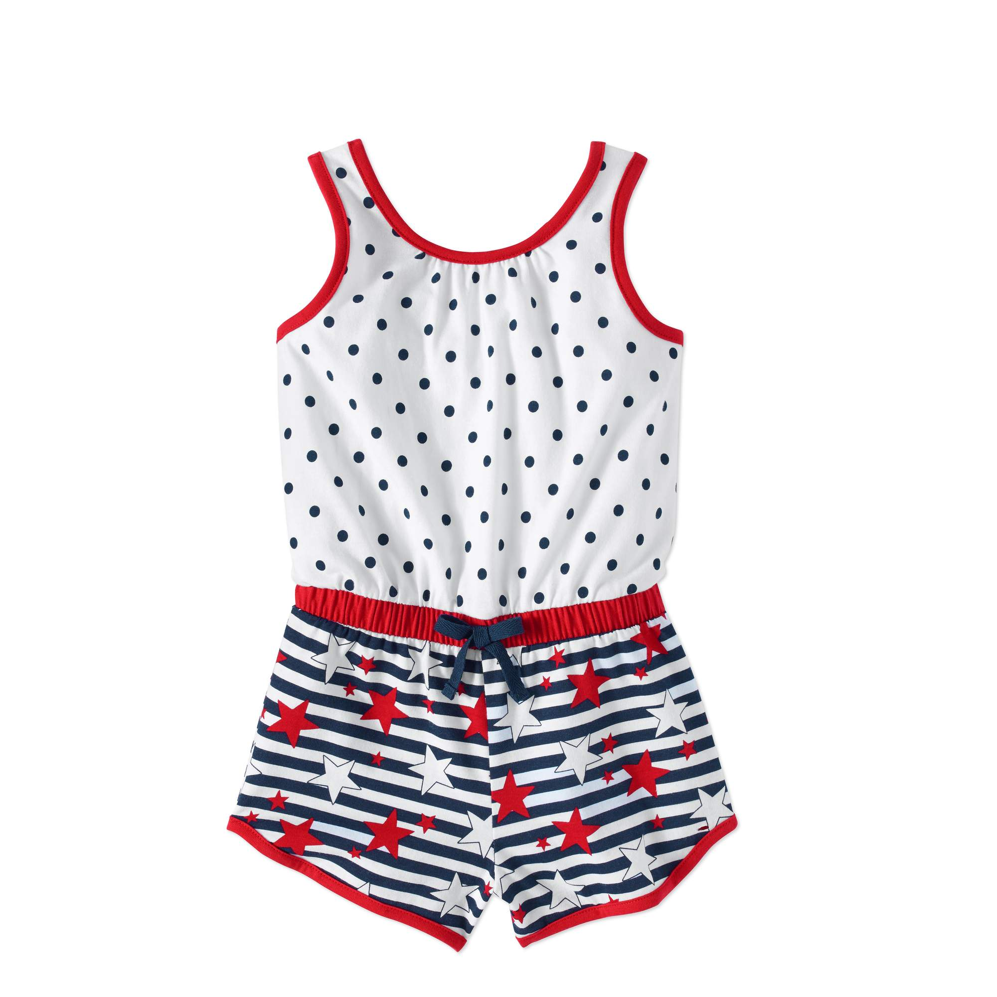 Healthtex Toddler Girls' Mixed Print Sleeveless Knit Romper