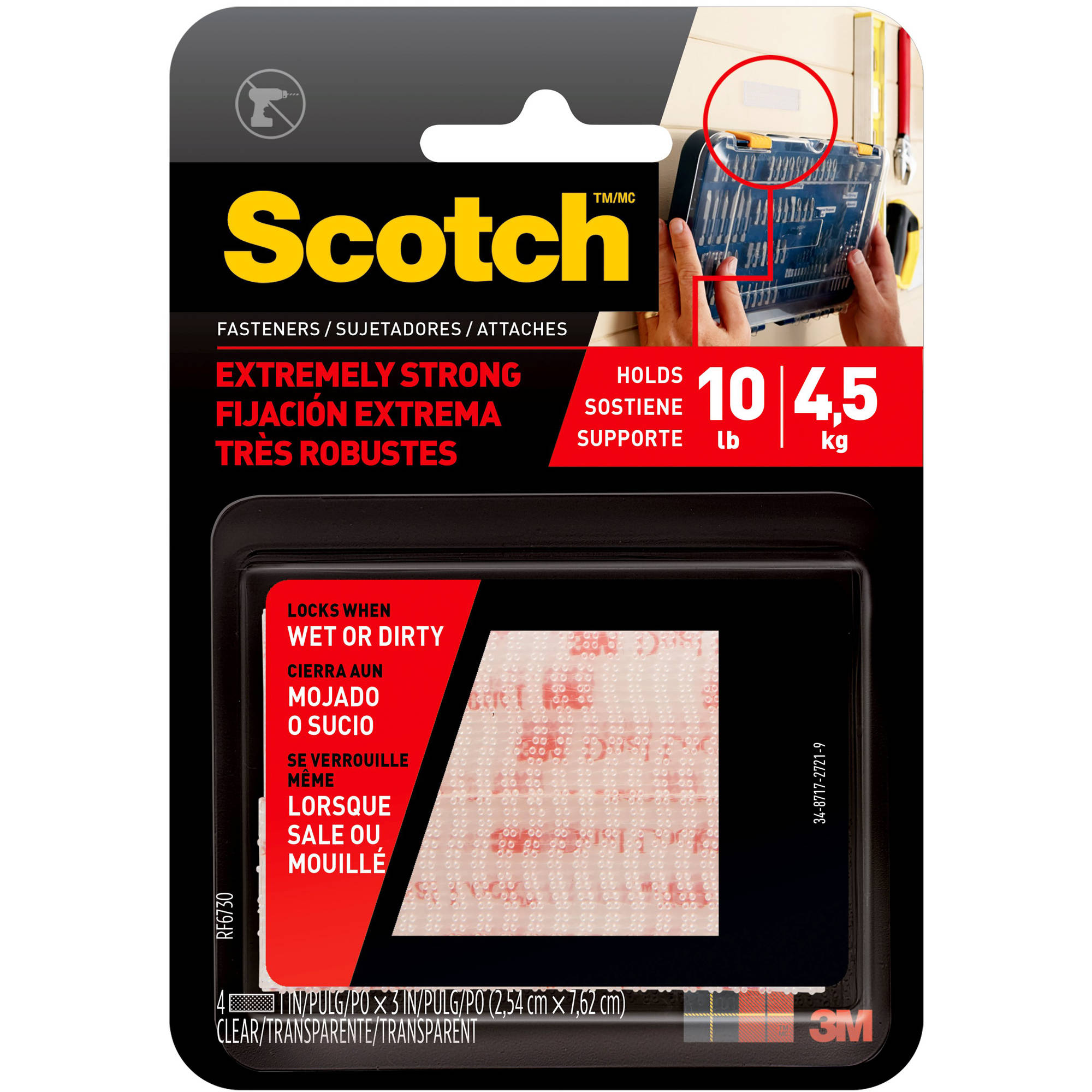 Scotch Extreme Fasteners, 1 in. x 3 in., Clear, 2 Sets of Strips/Pack