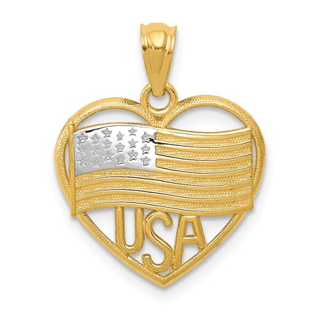 (14K Yellow Gold Polished American Flag & USA In Heart Pendant 20.64mm x)