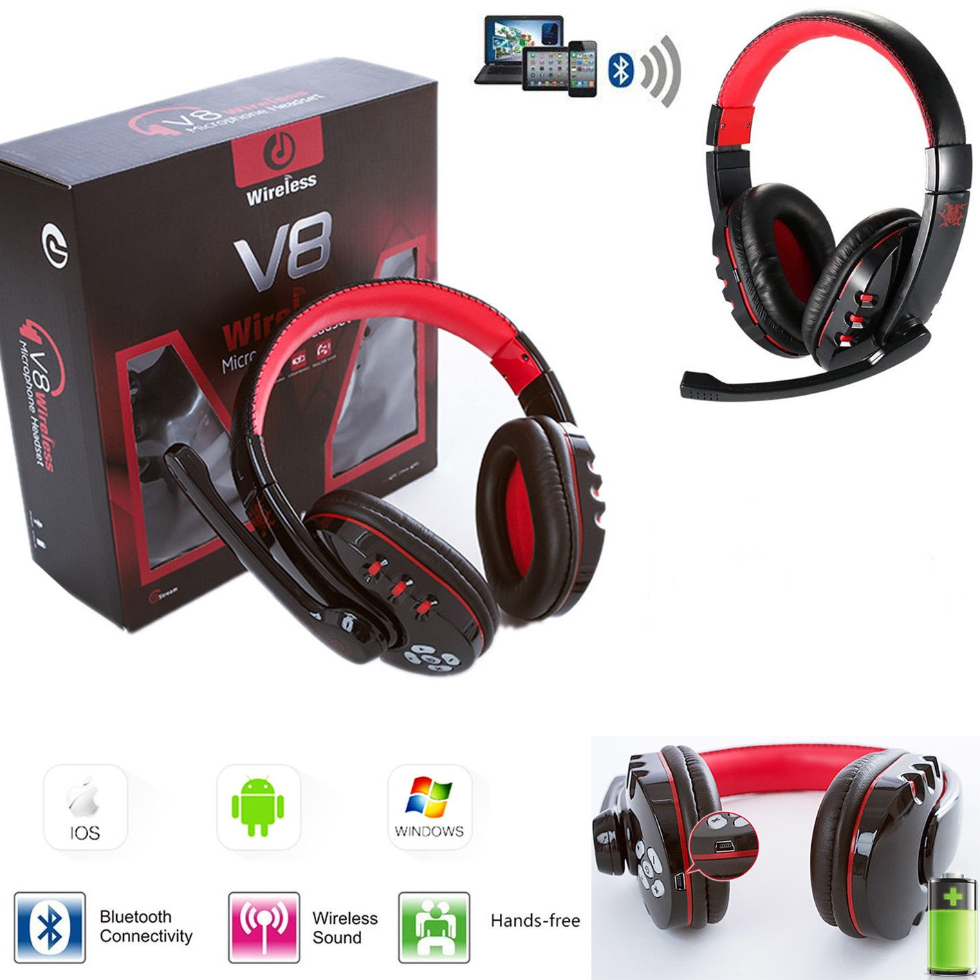 Veryke Bluetooth Headphones Best Pc Gamer Over Ear Wireless Headphones With Mic Foldable Headband Ergonomic Designed Soft Earmuffs For Pc Laptops And Smartphones Waet017 Walmart Com Walmart Com