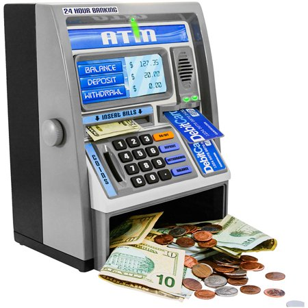 Ben Franklin Toys Kids Talking ATM Machine Savings Bank with digital screen and electronic calculator for kids, Silver - Awesome Kid Toys