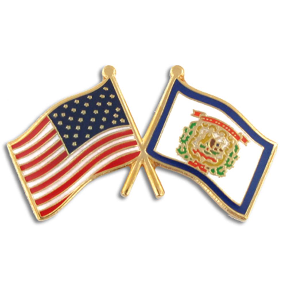PinMart's West Virginia and USA Crossed Friendship Flag Enamel Lapel Pin