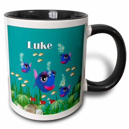 3dRose This vibrant artwork of Fish under the sea is personalized with the name Luke, Two Tone Black Mug, 11oz](Under The Sea Items)