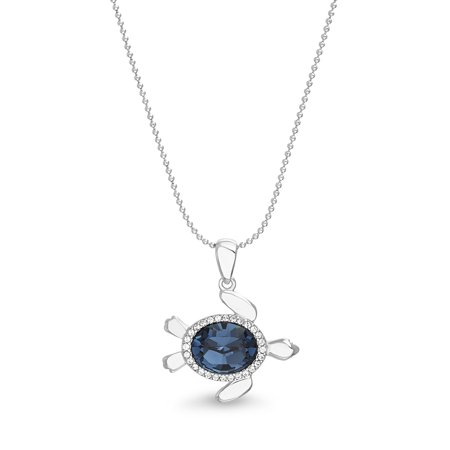 Faceted Crystal Turtle Necklace in Sterling Silver made with Swarovski Crystals