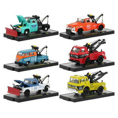 Auto Tow Trucks 6 piece Set Release 52 IN DISPLAY CASES 1/64 Diecast Model Cars by M2