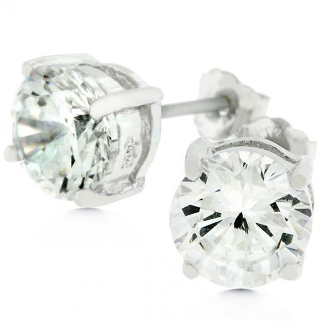 Icon Bijoux E01220Rs-S01-6.25Mm Clear Silver Round Studs 6.25 Earrings