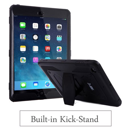 Ipad 2 Case Cover - HDE iPad Mini 1 / 2 / 3 Case Shockproof Rugged Cover Full Body Protective Shell with Kickstand Built-in Screen Protector (Black)