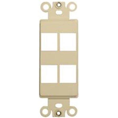 - Decorator Wallplate For Keystone Jacks And Modular Inserts Four Ports Ivory