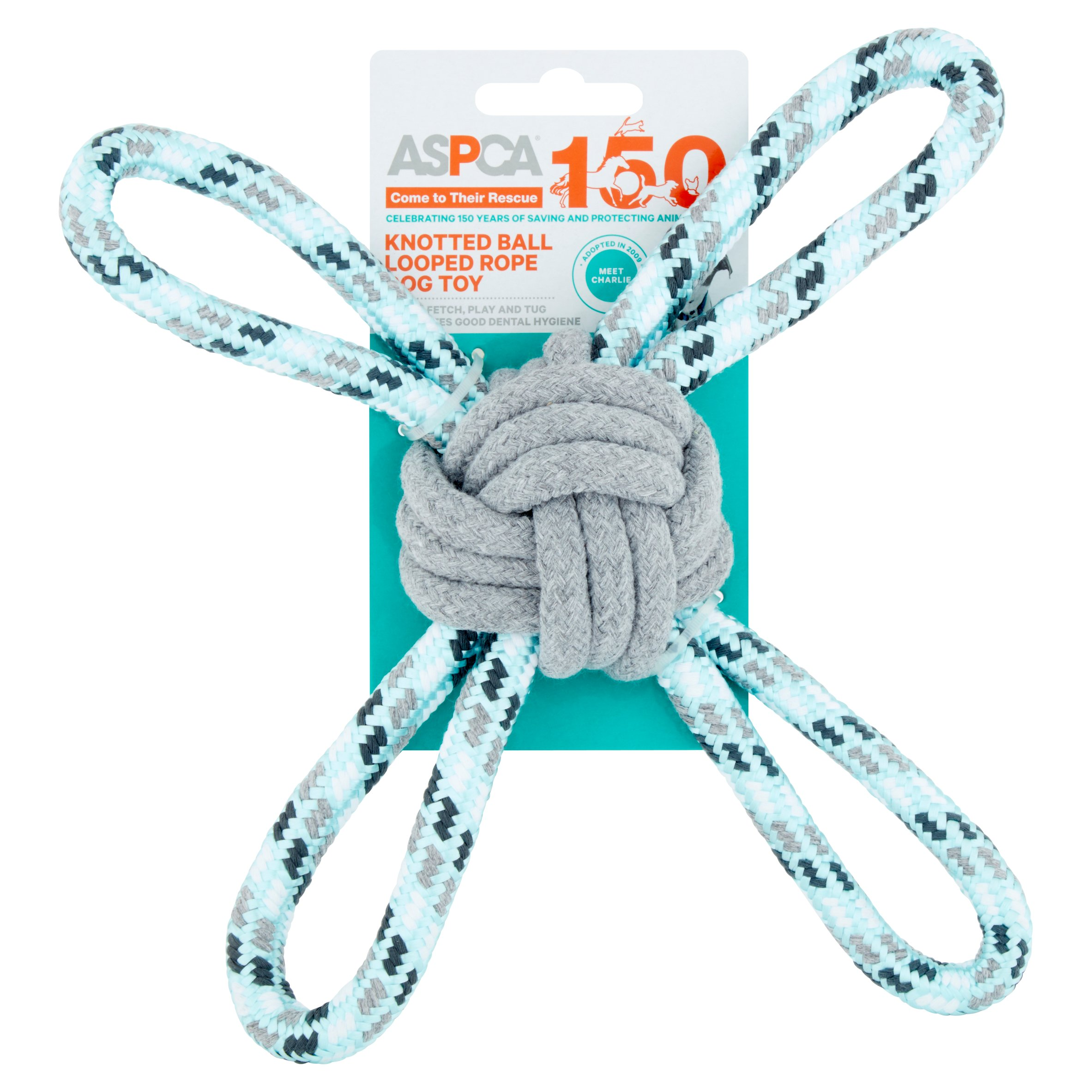ASPCA Blue Knotted Ball Looped Rope Dog Toy