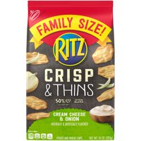 Ritz Crisp & Thins, Cream Cheese & Onion, Family Size, 10 oz