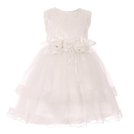 Baby Girls White Lace Trim Double Layered Tulle Flower Girl Dress - Double Layer Frocks