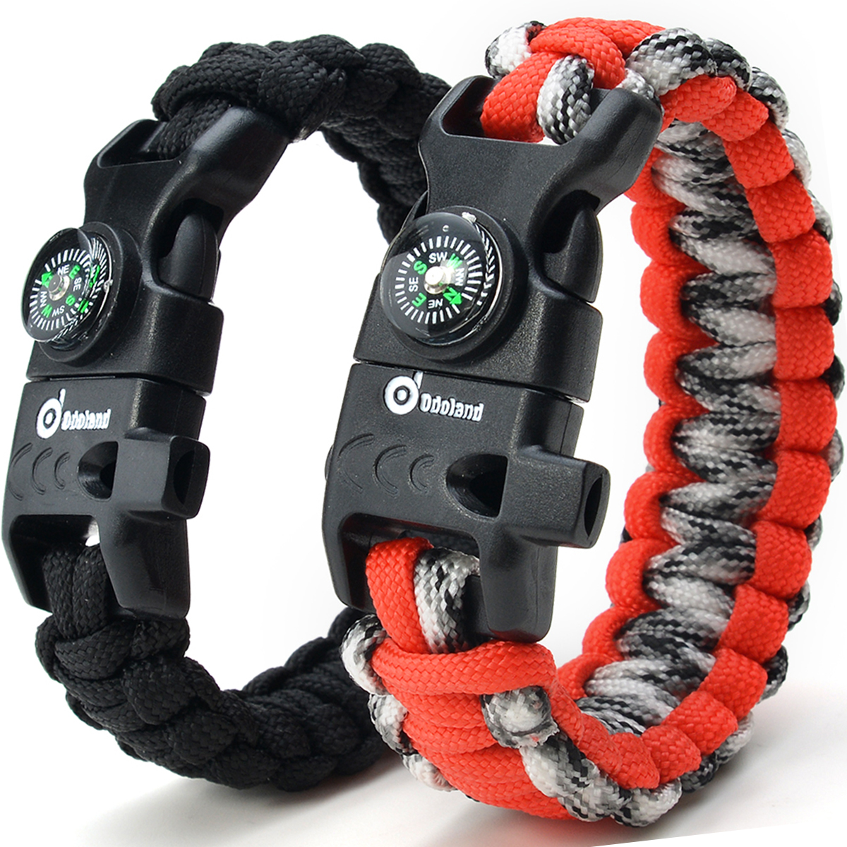ODOLAND Paracord Bracelet Emergency Survival Cord 2-Peak Series Gear Kit w  Compass Fire Starter Knife Whistle by Odoland