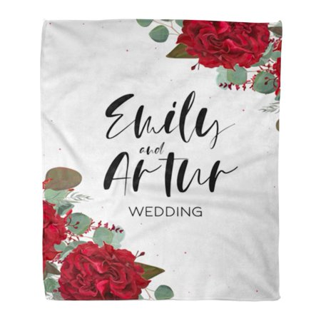 ASHLEIGH Flannel Throw Blanket Wedding Save The Date Floral Bouquet Red Burgundy Rose Soft for Bed Sofa and Couch 58x80 Inches - Outdoor Red Lens