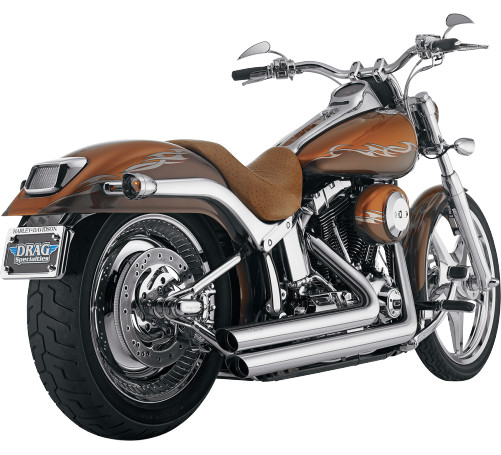 Python Staggered Dual Exhaust Chrome Fits 06-11 Harley-Davidson FLSTN Softail Deluxe