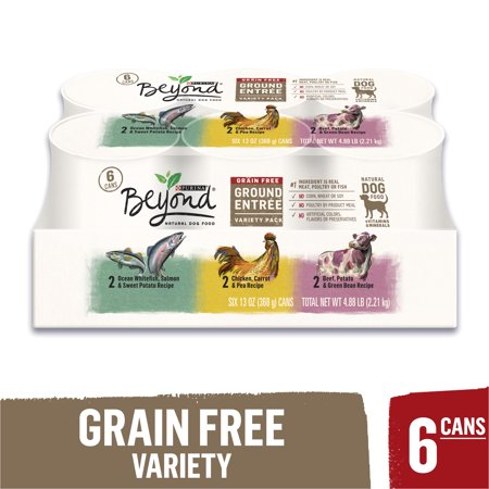 Purina Beyond Grain Free, Natural Pate Wet Dog Food Variety Pack, Grain Free Ground Entree - (6) 13 oz. (Best All Natural Dog Food For Allergies)