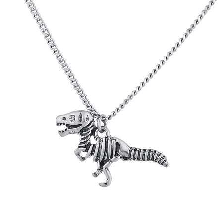 Lux Accessories Burnish Silver Tone Skeleton Dinosaur Pendant Novelty Necklace