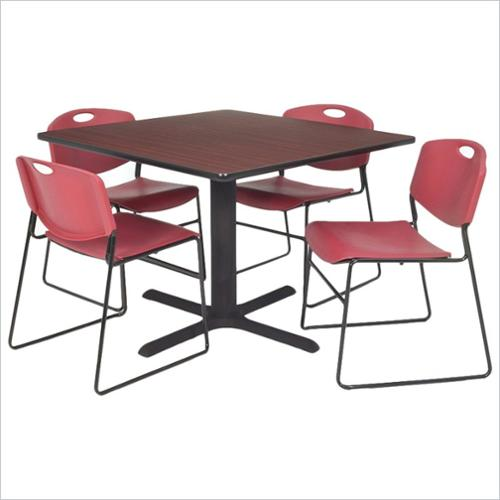 "Kobe 42"" Mahogany Square Breakroom Table and 4 Zeng Stack Chairs, Multiple Colors"