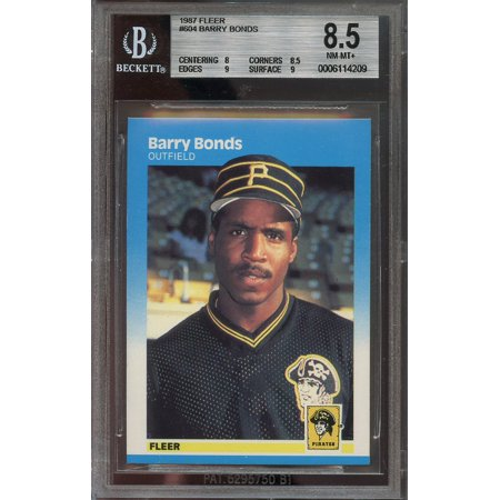 1987 Fleer Barry Bonds (1987 fleer #604 BARRY BONDS pittsburgh pirates rookie card BGS 8.5 (8 8.5 9 9))