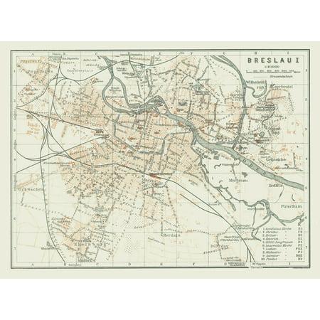 International Map Wroclaw Breslau Poland Baedeker 1914