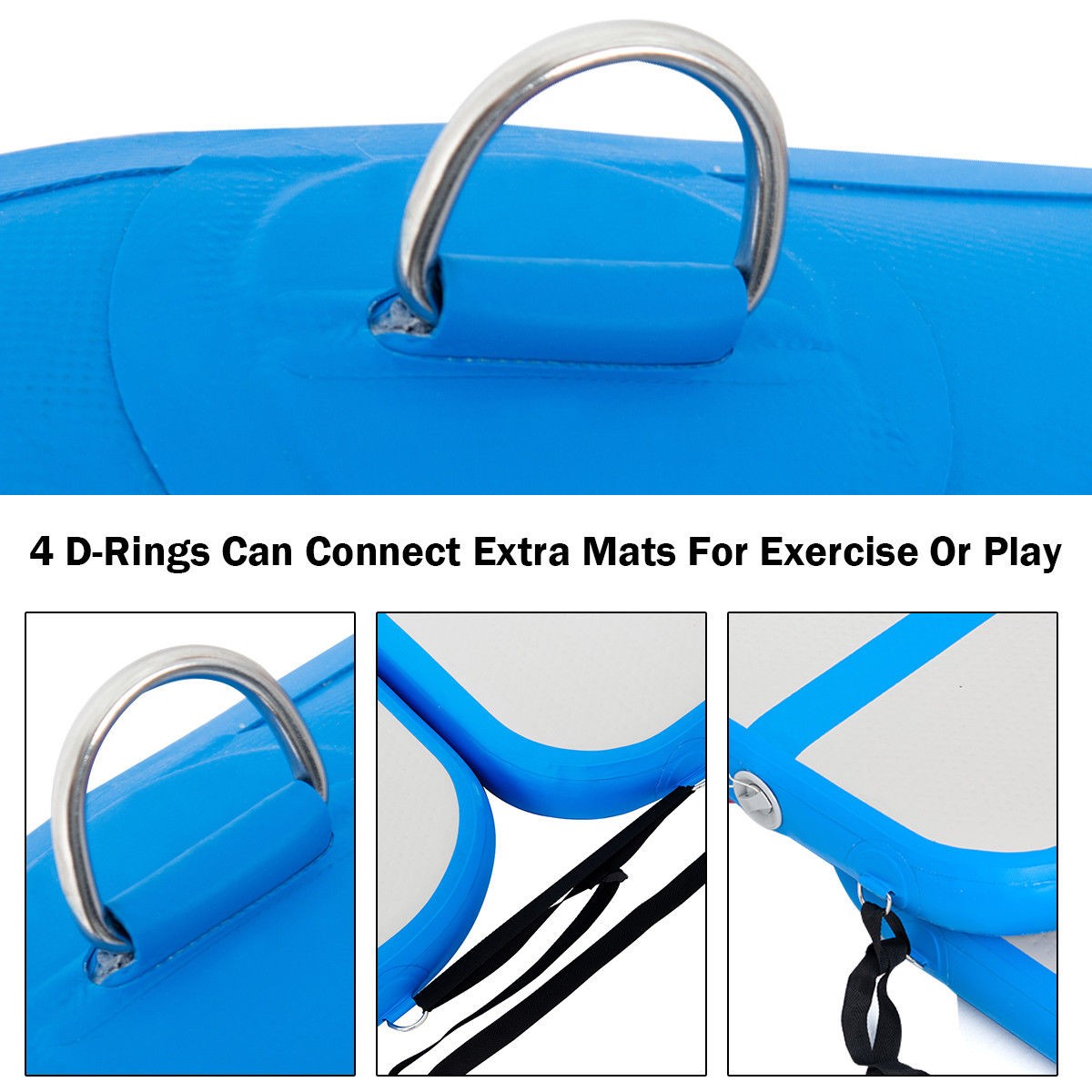 3.3' Inflatable Gymnastics Mat Air Track Floor Mat Water Buoyancy w/ Pump Blue - image 8 de 10