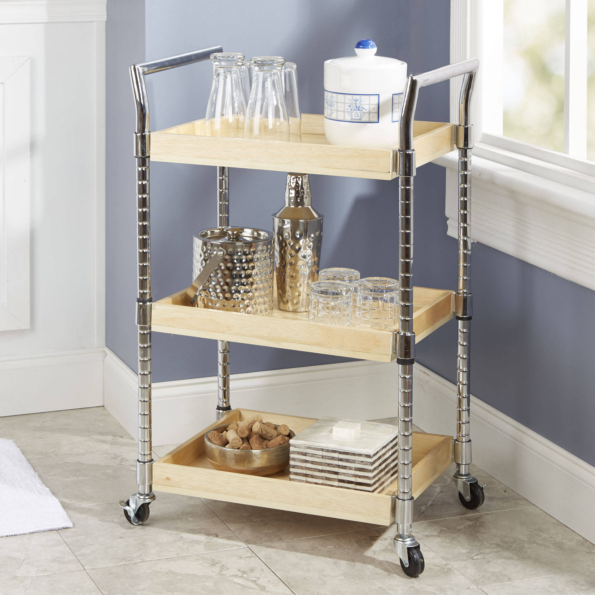 Mainstays Multi-Purpose Wood Cart, Natural Finish with Chrome Handles