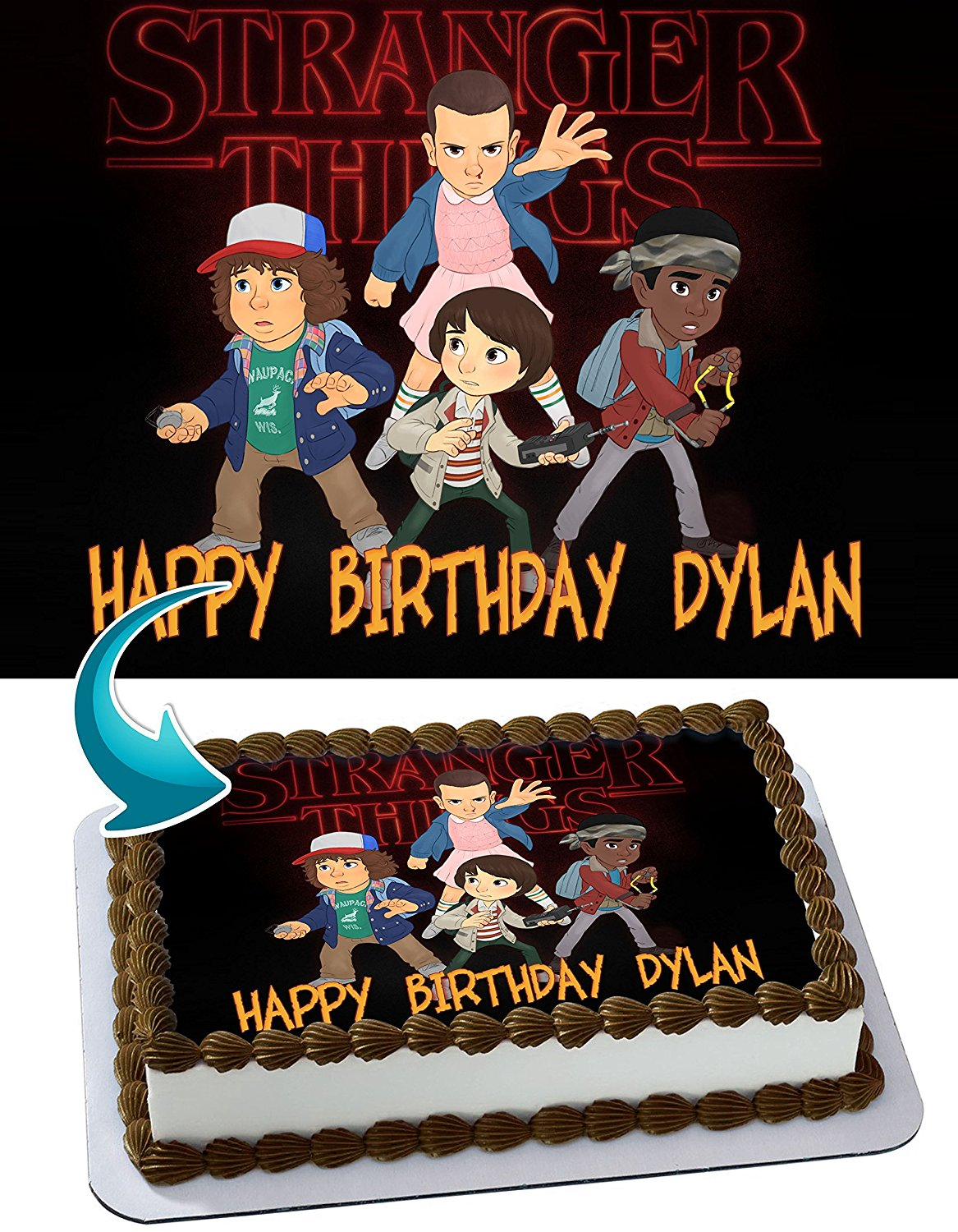 Stranger Things Edible Cake Image Personalized Toppers Icing Sugar