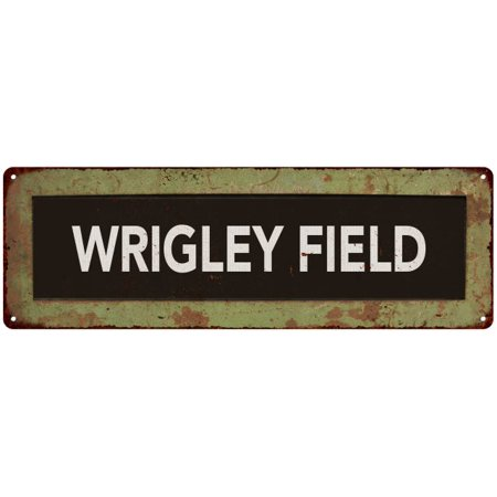 WRIGLEY FIELD Trollery Bus Roll Vintage Metal Sign 8x24 (Wrigley Field Metal)