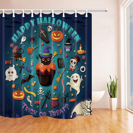 ARTJIA Happy Halloween Decor Trick or Treat with Pumpkin and Cakes MediumTurquoise Polyester Fabric Bathroom Shower Curtain 66x72 inches