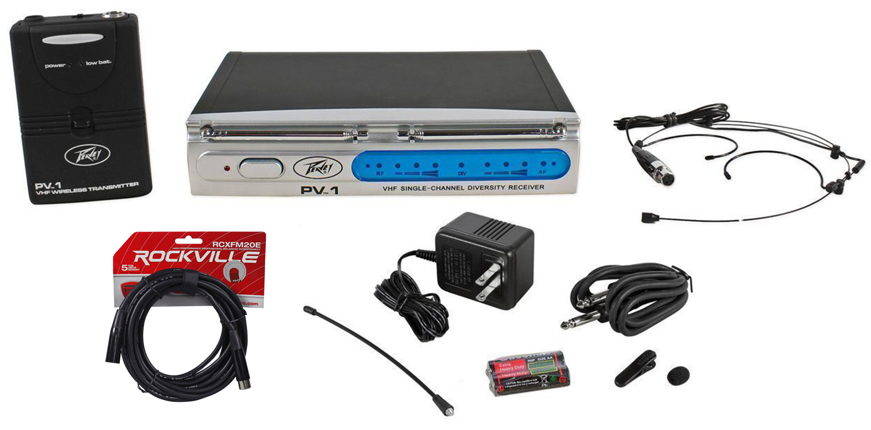Peavey PV-1 U1 BHS 906.00MHZ UHF Wireless Headset Microphone System + XLR Cables by Peavey