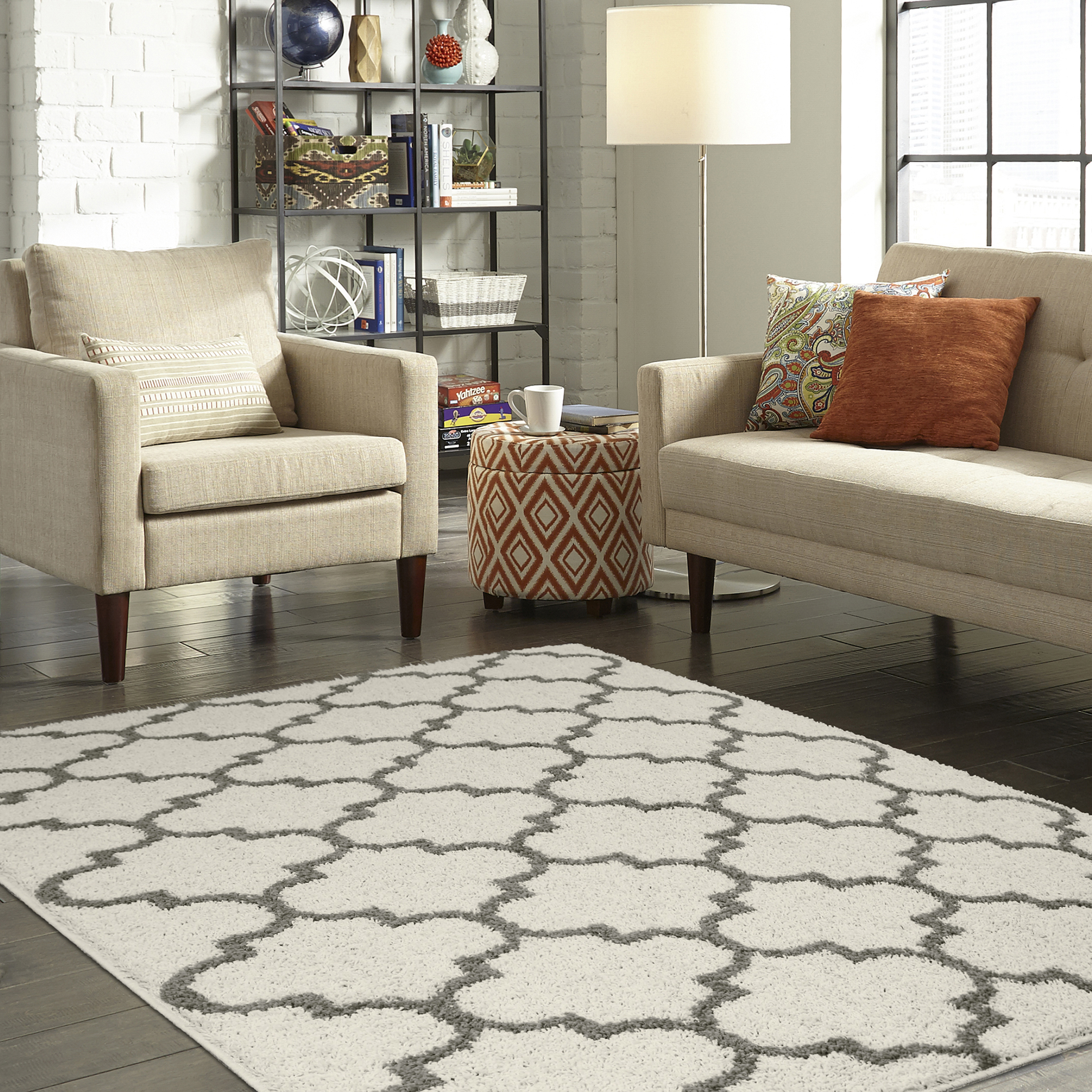 Shag Area Rugs For Living Room mainstays trellis 2-color shag area rug or runner - walmart