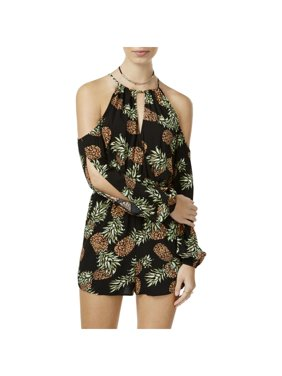 bf22ccd05a33 Product Image Material Girl Womens Juniors Pineapple Print Cold Shoulder  Romper