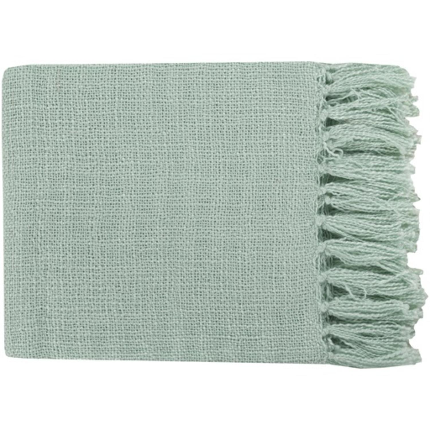 "59"" x 51"" Warm Weaves Mint Green Fringed Throw Blanket"