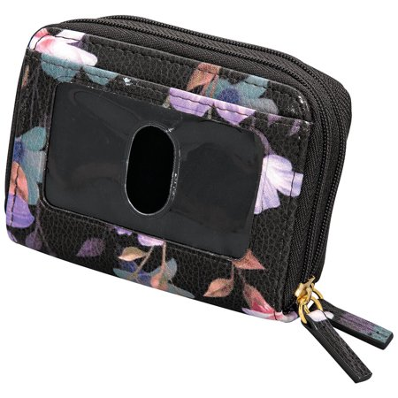 Buxton Womens RFID Accordion Double Zippered Wizard Credit Card ID Holder Travel Wallet (Flowers) Accordion Credit Card