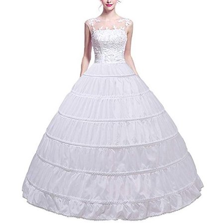 HURRISE Full Shape 6 Hoop Skirt Ball Gown Petticoat White Bridal Crinoline Underskirt Floor Length Slips Skirt for Ball Gown Wedding Dresses (Slip For Wedding Dress)