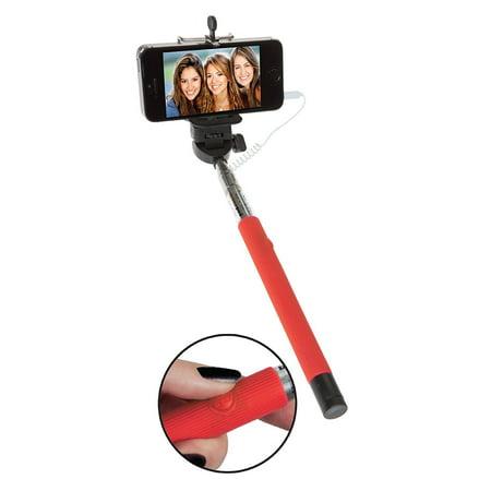 soundlogic xt universal extendable selfie stick with built in aux remote red. Black Bedroom Furniture Sets. Home Design Ideas