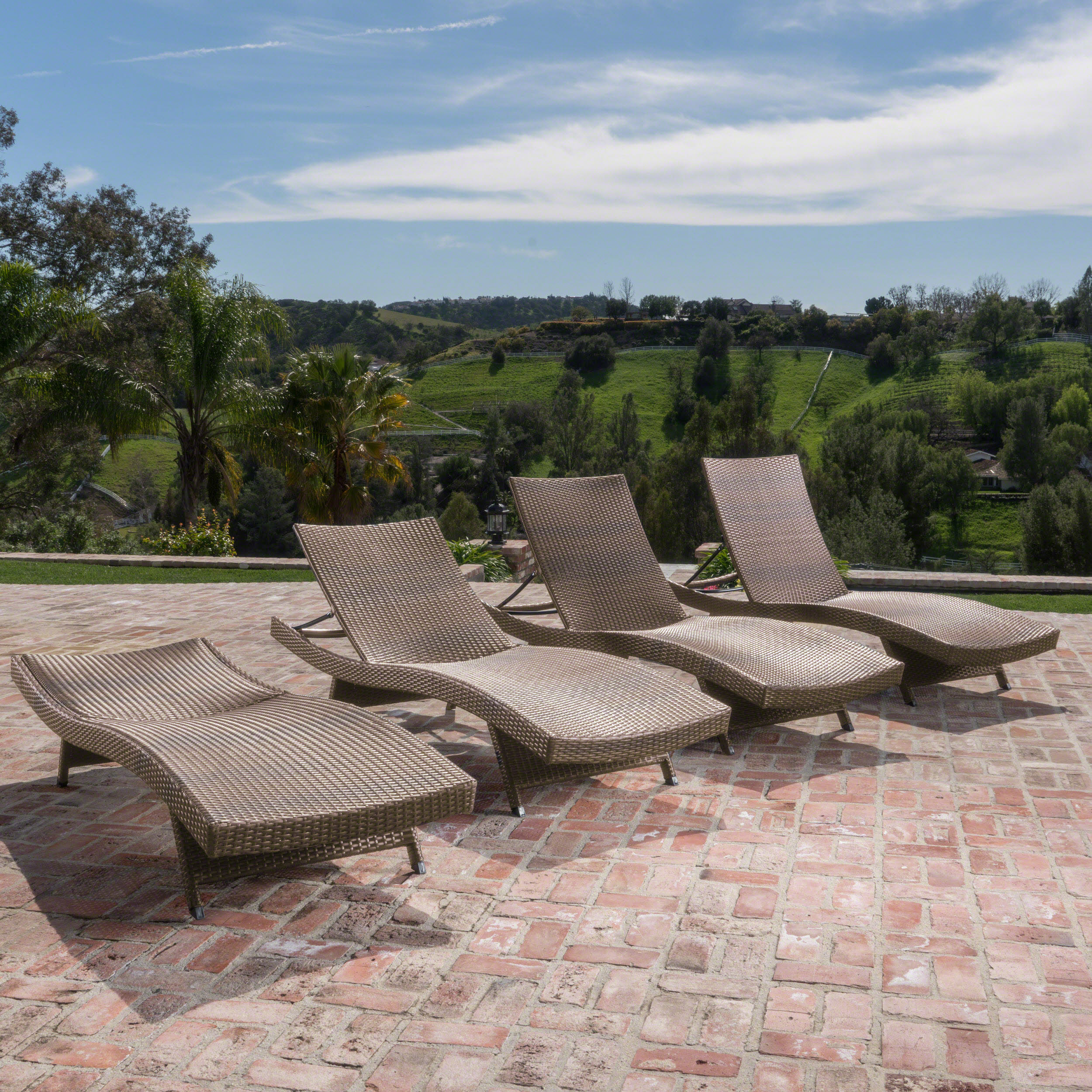 Lakeport Outdoor Wicker Armless Chaise Lounge, Set of 4, Mixed Mocha