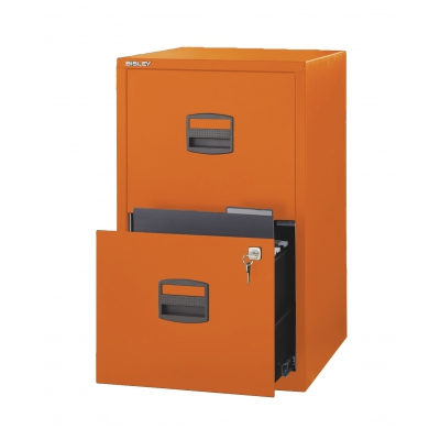 Bisley Two Drawer Steel Home Filing Cabinet,Orange BDSFILE2OR by