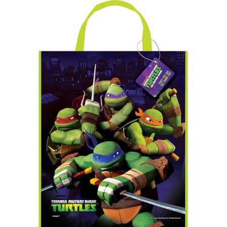 (6 Pack) Large Plastic Teenage Mutant Ninja Turtles Goodie Bag, 13 x 11 in, 1ct - Ninja Turtle Party Invitations