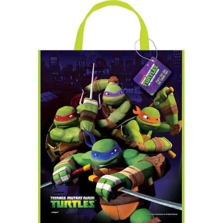 (6 Pack) Large Plastic Teenage Mutant Ninja Turtles Goodie Bag, 13 x 11 in, 1ct - Ninja Birthday Party Ideas