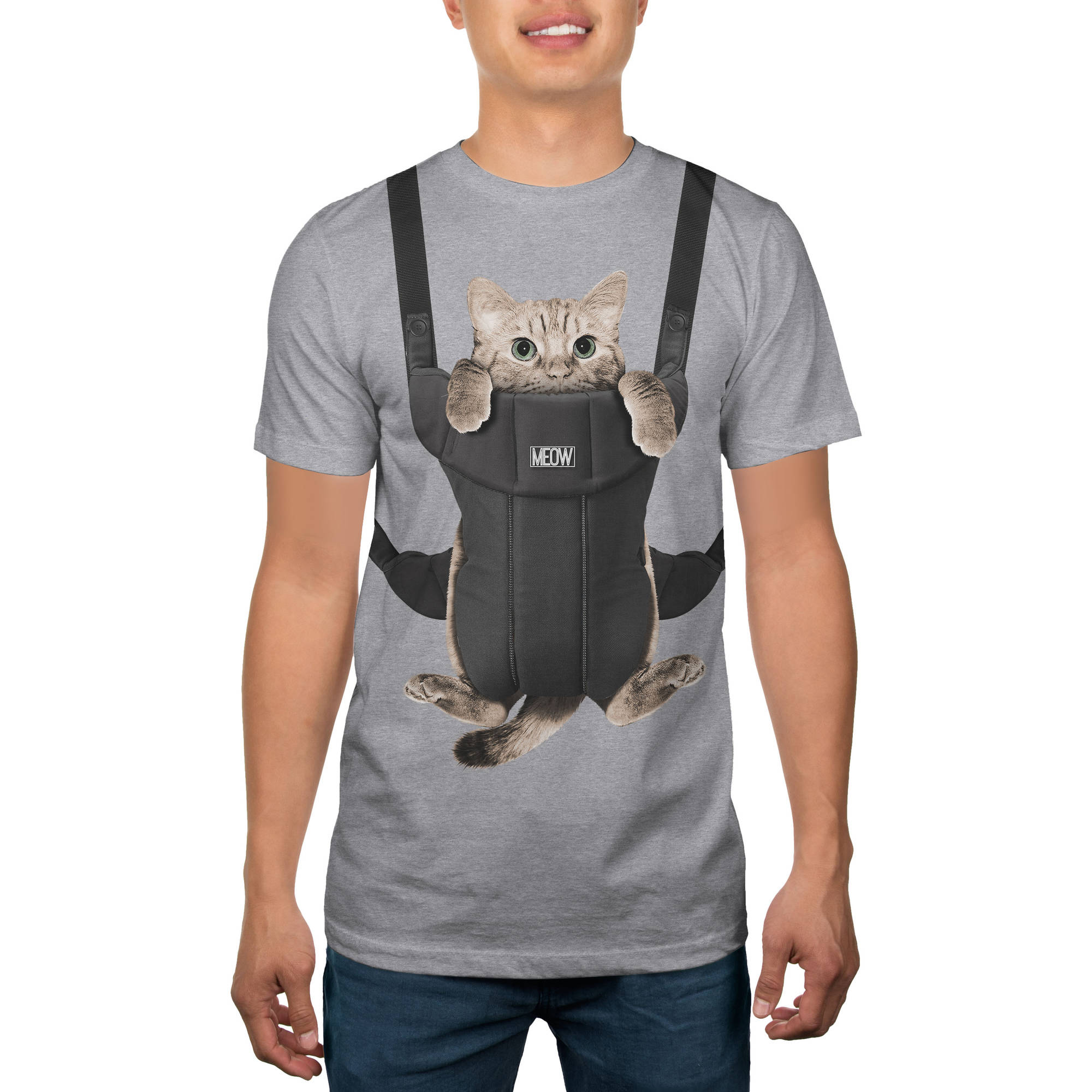 Cat in Carrier Big Men's Humor Graphic Tee