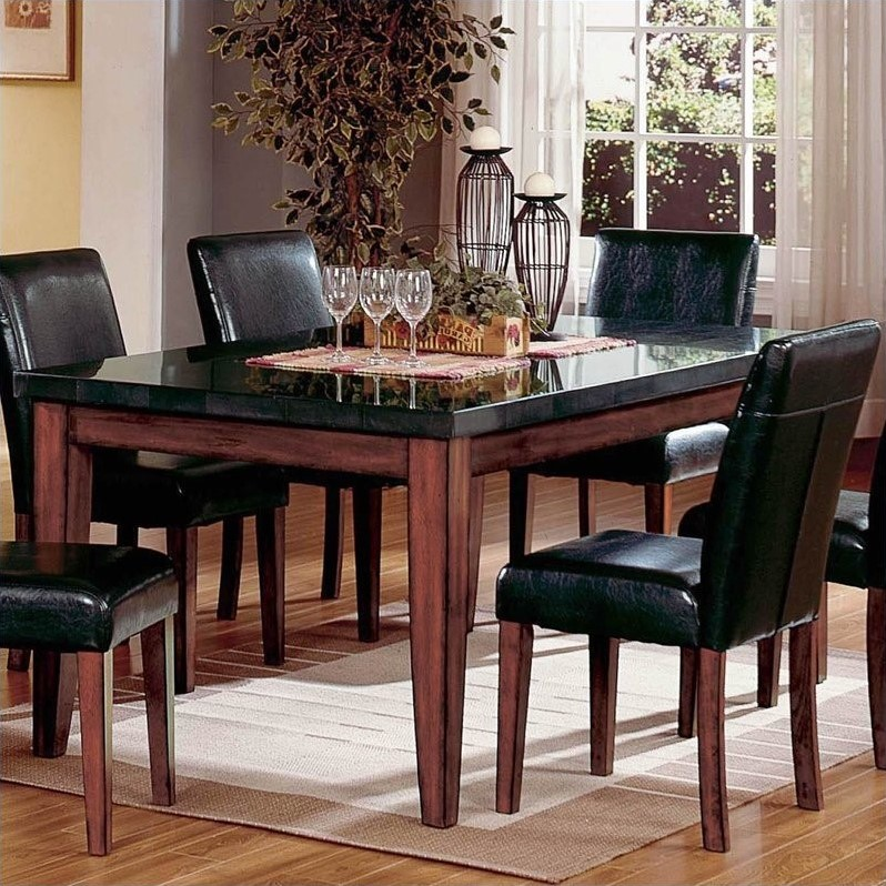 Bowery Hill Granite Casual Dining Table in Cherry - Walmart.com