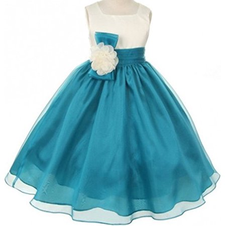 8c3d90c078e7c BNY Corner Flower Girl Dress Two-Tone Ivory Top Mix Organza for Little Girl  Teal 2 KK2058