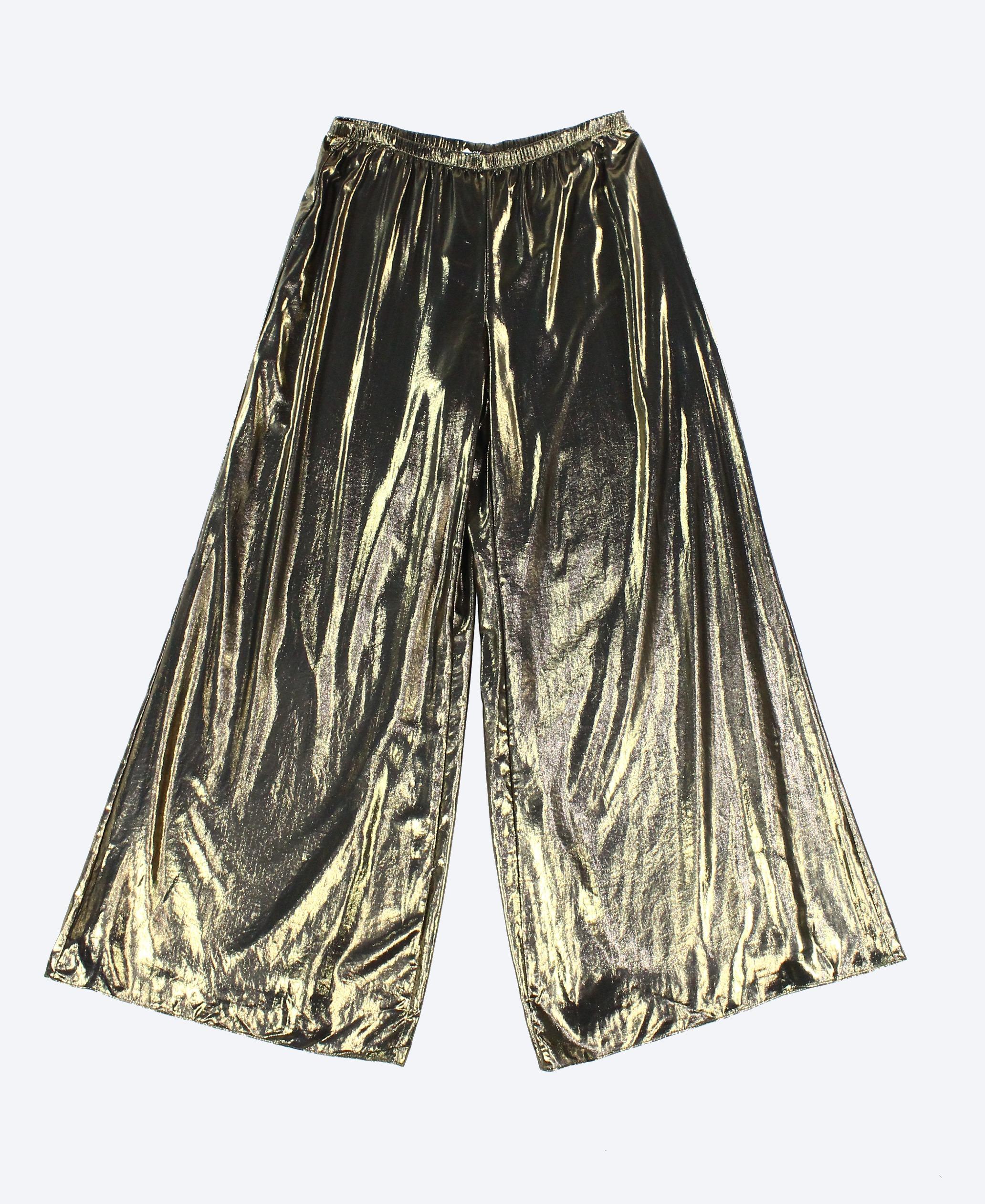 MSK NEW Gold Women's Size Large L Wide Leg Metallic Pull On Pants