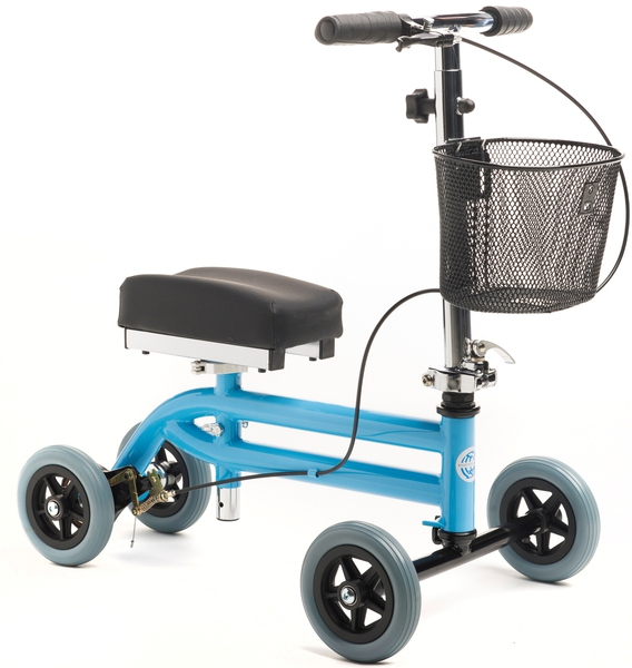 KneeRover Kids Knee Walker Child Knee Scooter Pediatric Crutch Alternative with Basket in Light  Blue