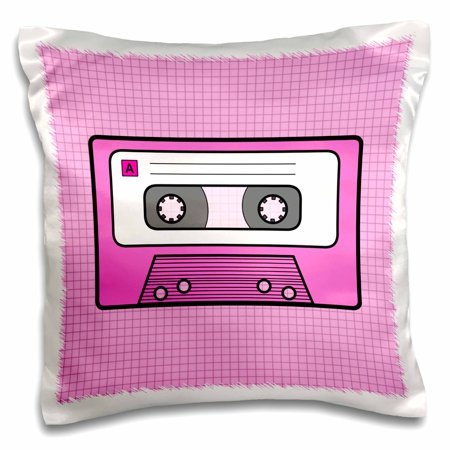 3dRose Cute Cartoon Mixtape Design on Pink - Retro Mix Tape - Pillow Case, 16 by 16-inch (Pink Linen Mix)