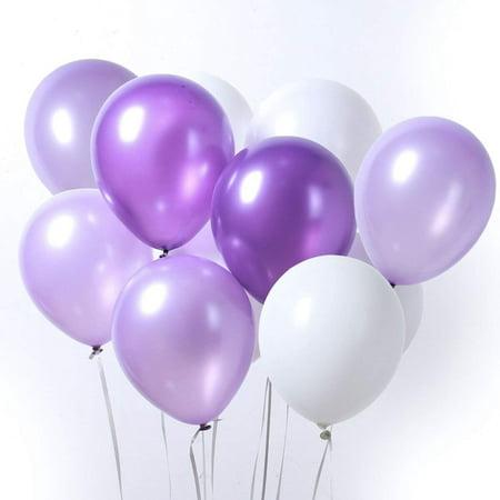 LAttLiv Purple & White Latex Balloons for Birthday Wedding Pa 12 Inch 100 Pcs Party, Baby Shower Decorations Graduation Decorations (Lilac Wedding Decorations)
