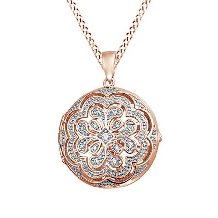 Vintage Style Cubic Zirconia Flower Medallion Locket Pendant In 14K Rose Gold Over Sterling Silver