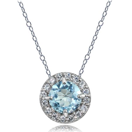 Sterling Silver Blue and White Topaz Round Halo Necklace Blue Topaz Round Necklace