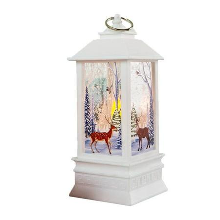 Peroptimist  Christmas Reindeer Snowman Santa Lantern, Hanging LED Light Holiday Snow Vintage Portable Lighted Globe Lantern Ornaments Craft for Home Desktop, Outdoor, Office, Restaurant Decoration ()