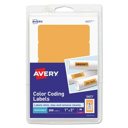 Printable Removable Color-Coding Labels, 1 x 3, Neon Orange, 200/Pack (Halloween Food Label Printables)